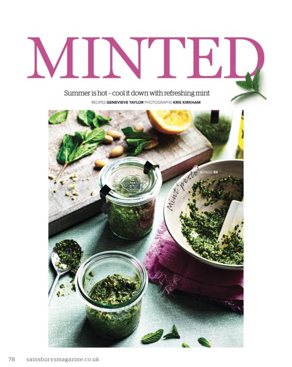 A front cover page showing a cool mint pesto being made in a bowl and put into jars