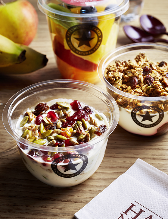 A selection of breakfast choices from fruit to yogurts